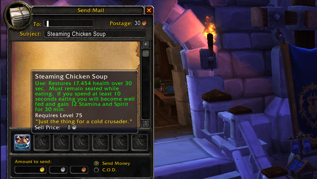 Icon and tooltip for Steaming Chicken Soup item in the in-game mail window