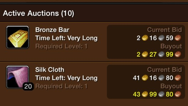 Active Auction Listings in the WoW Mobile Auction House (WoW Armory app for iOS)