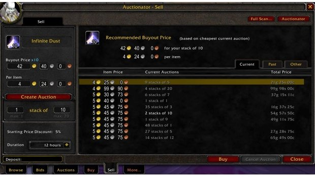 Auctionator add-on for WoW