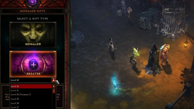 Greater Rift selection screen