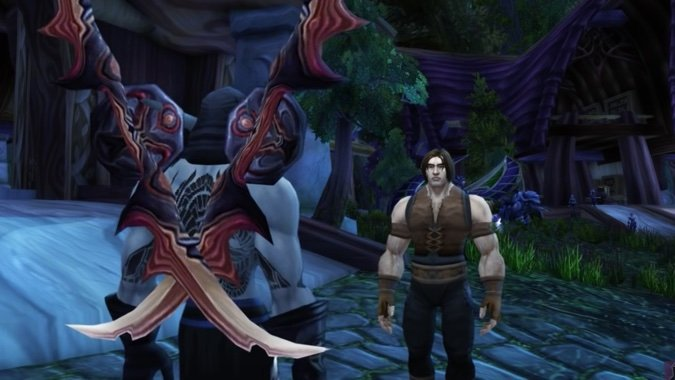 "A ""demon hunter"" talking to a human"
