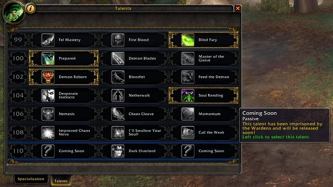 havoc demon hunters receive nearly full talent tree in latest rh blizzardwatch com World of Warcraft Paladin world of warcraft hunter talent build