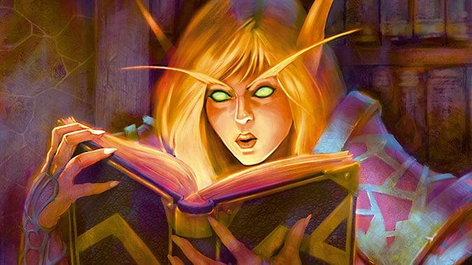 Arcane_Sanctum_Header_TCG_blood_elf_mage_with_book