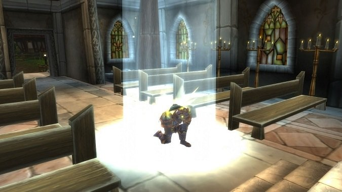 paladin kneeling in contemplation