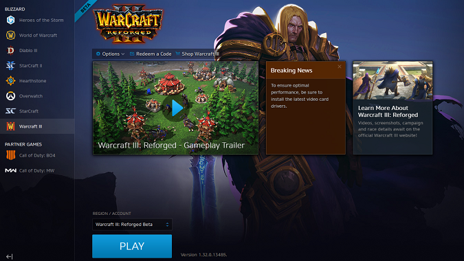 Warcraft 3 Reforged Beta in Launcher