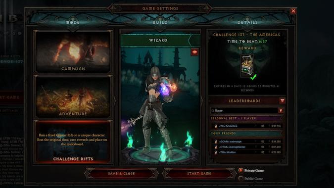 Diablo 3 Game Mode Menu