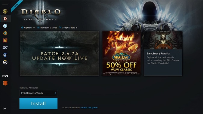 Battle.net Diablo 3 PTR install screen