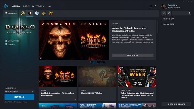 Battle.net Diablo 3 PTR install screen