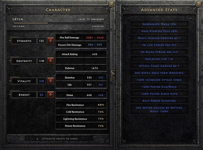 Diablo 2 Resurrected - Character Sheet